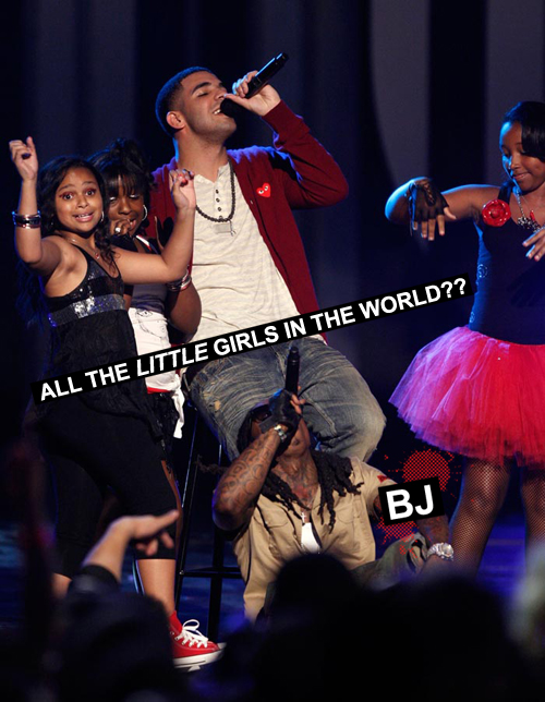Drake BET Awards With Little Girls in the World